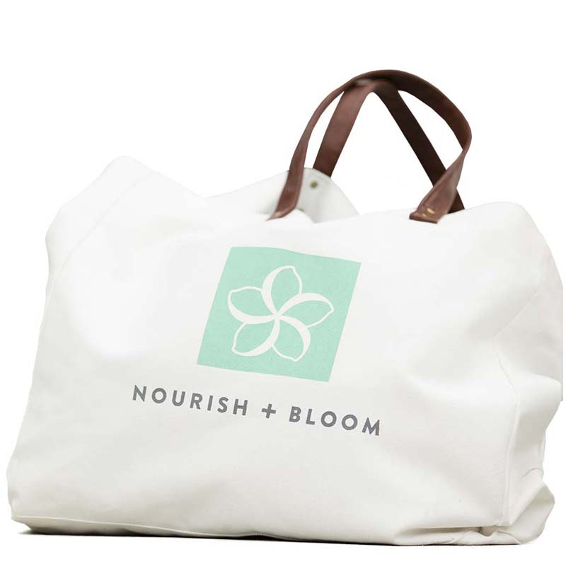 nourish + bloom canvas carryall bag